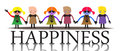 Happiness abstract colorful background with more children holding their hands and standing on the word Stock Images