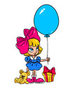 Happiness birthday gift girl cartoon isolated illustration Royalty Free Stock Image