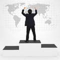 Happiness businesses man standing on winner podium top of success in business concept Stock Photo