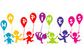 Happiness childhood concept with children doodle and balloons Royalty Free Stock Photos
