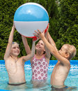 Happiness children at pool Stock Photography