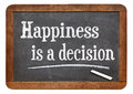 Happiness is a decision motivational phrase on vintage slate blackboard Royalty Free Stock Image