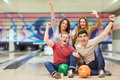 Happiness emotional young people in bowling Stock Photos
