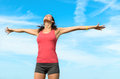 Happiness freedom concept woman raising arms to sky beautiful blissful happy sporty girl Royalty Free Stock Images