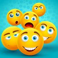 Happiness and friendship creative vector concept with yellow emoji icons