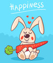 Happiness happy rabbit with carrot on a blue background with flying hearts ideal for prints on t shirt or a childrens book Stock Image
