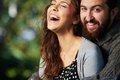 Happiness image of joyful couple outdoors Royalty Free Stock Image