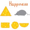 Happiness mouse and cheese on the white background Royalty Free Stock Photography