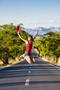 Happiness in the road Royalty Free Stock Photo