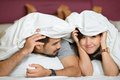 Happiness and romantic scene of love couples partners on the bed Stock Images