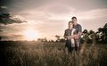 Happiness and romantic scene of love couples partners on the rice field vintage style Royalty Free Stock Photography