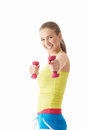 Happiness sports girl with dumbbells on a white background Royalty Free Stock Photos