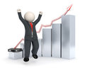 Happy 3d business man - graph chart Royalty Free Stock Images