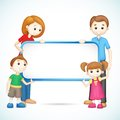 Happy 3d Family in Vector holding Placard Stock Images