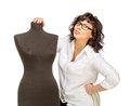 Happy adult tailor with mannequin woman isolated on white Stock Photography