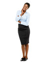 Happy african american businesswoman full length portrait on white smiling Stock Photography