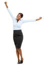Happy african american businesswoman full length portrait on white smiling Stock Images