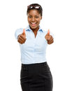 Happy african american businesswoman thumbs up isolated on white smiling Stock Photo