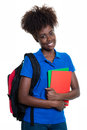 Happy african american female student with backpack Royalty Free Stock Photo
