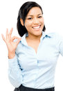 Happy african american woman okay sign white background shows Stock Image