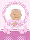 Happy African baby girl scrapbook pink frame Stock Photos