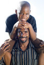 Happy african father and son Royalty Free Stock Photo