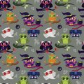 Happy All Hallows Eve nightbirds seamless pattern