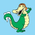 Happy alligator with tooth