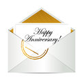 Happy anniversary gold mail letter illustration design over white Stock Image