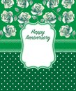 Happy anniversary Greeting Card in green Dominate color Royalty Free Stock Photo