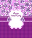 Happy anniversary Greeting Card in Purple Dominate colour Royalty Free Stock Photo