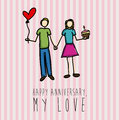 Happy anniversary hand drawing love over white background vector illustration Stock Images