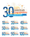 Happy anniversary labels set of Royalty Free Stock Photo