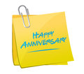 happy anniversary memo post Royalty Free Stock Photo