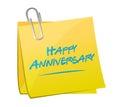 happy anniversary memo post Royalty Free Stock Photo