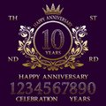 Happy Anniversary sign kit. Golden numbers, frame and some words for creating celebration emblems