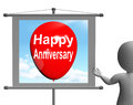 Happy anniversary sign shows cheerful festivities and parties showing Royalty Free Stock Images