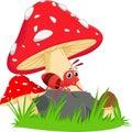Happy ant cartoon with red mushroom Royalty Free Stock Photo
