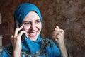 Feliz mujer móvil