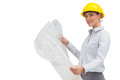 Happy architect holding plan with yellow helmet on white background Stock Images