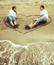 Happy asian couple at beach Royalty Free Stock Photo