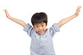 Happy asian cute boy extend his arms with smiling Royalty Free Stock Photo