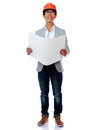 Happy asian engineer holding blueprint portrait of a over white background Royalty Free Stock Photos