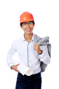 Happy asian engineer holding blueprint portrait of a over white background Stock Photo