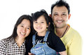 Happy asian family isolated over white smiling together father mother and daughter Stock Photography