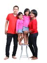Happy asian family south east on white background red t shirt Royalty Free Stock Photos