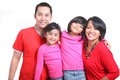 Happy asian family south east on white background red t shirt Stock Image