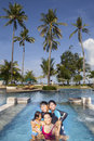Happy Asian Family on Vacatiopn Royalty Free Stock Photography