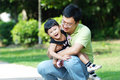 Happy asian father and daughter Stock Images