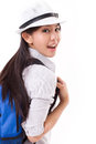 Happy asian female traveller Royalty Free Stock Photo